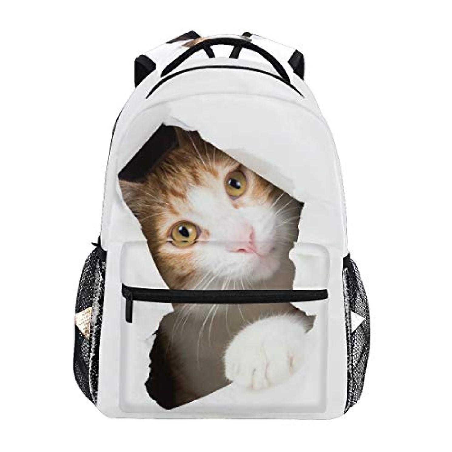 薬局背が高い人道的MASAI リュック 可愛い リュックサック おしゃれ 猫柄 白 大容量 レディース メンズ 女の子 小学生 中学生 高校生 軽量 通学 通勤 旅行 プレゼント