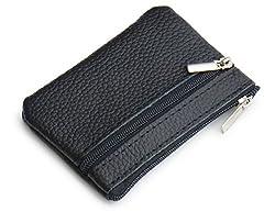 [NEXARY] 革 レザー 小銭入れ コインケース 2ポケット キーリング付き (ブラック)