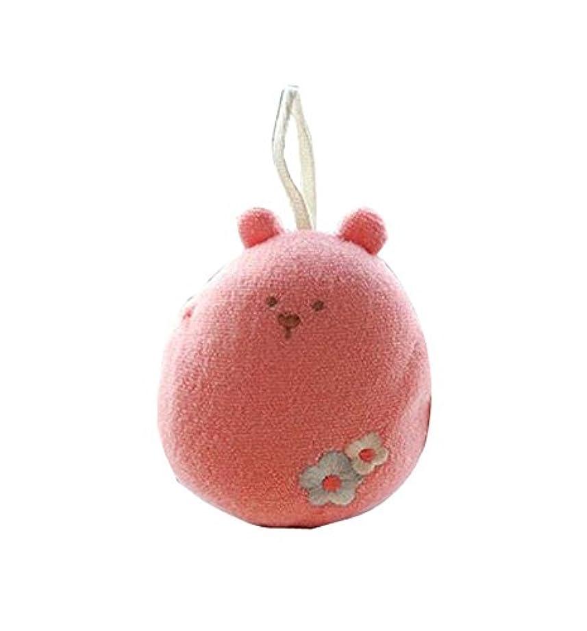 スキッパー脅迫密接に柔らかくて丈夫な新しいベビーバスボールバスタオルベビーバススポンジ、ピンク