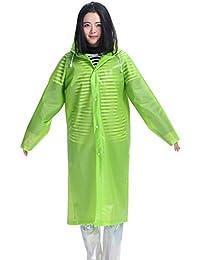 アウトドア 四季 透明 レインコート 女性 大人 ハイキング ジャケット 防水 ポンチョ (色 : 緑, サイズ : M)