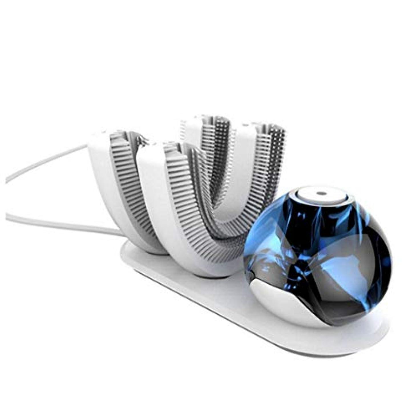 ブロックストローク避難HETAO クリエイティブ自動歯ブラシ、怠惰な、自動歯ブラシ電動歯ブラシワイヤレス充電式360°、歯ブラシヘッドのうちの2つは、白歯ブラシの歯に設計されています 白
