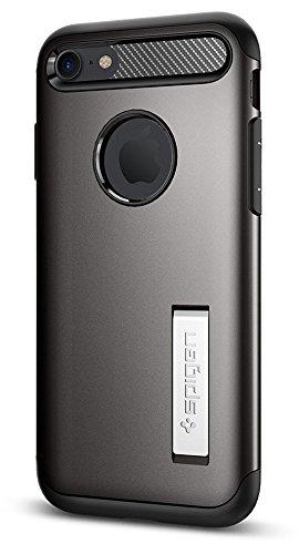 【Spigen】 iPhone7 ケース, スリム・アーマー [ 米軍MIL規格取得 衝撃吸収パターン加工 ] アイフォン 7 用 耐衝撃カバー (iPhone7, ガンメタル)