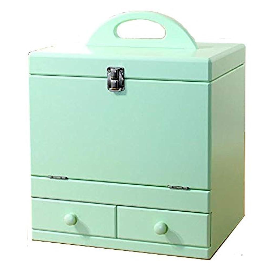 メイクボックス 三面鏡付き(色:ミントグリーン ) tu-853 カラフルコスメボックス