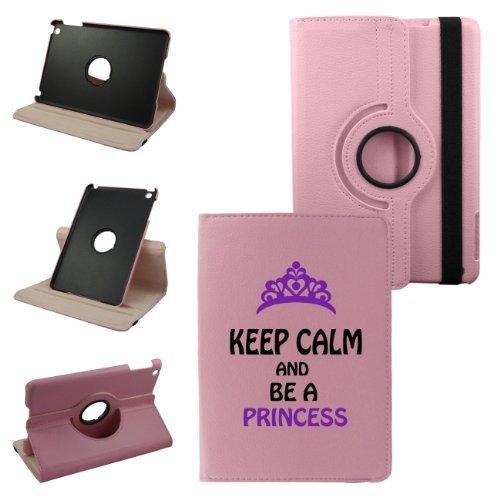 Keep Calm and BeプリンセスiPad第2世代、第3世代、第4世代カバー合成レザー回転iPadケース(ピンク) : 360度マルチアングル垂直と水平スタンドwith strap-生涯保証