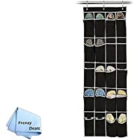 20 Pocket Hanging Shoe Organiser Black/White + FrenzyDeals Microfiber Cloth
