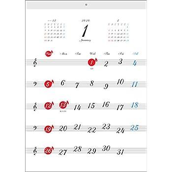 リズムピアノ 五線譜カレンダー 2020年 A3 壁掛け (音楽カレンダー)