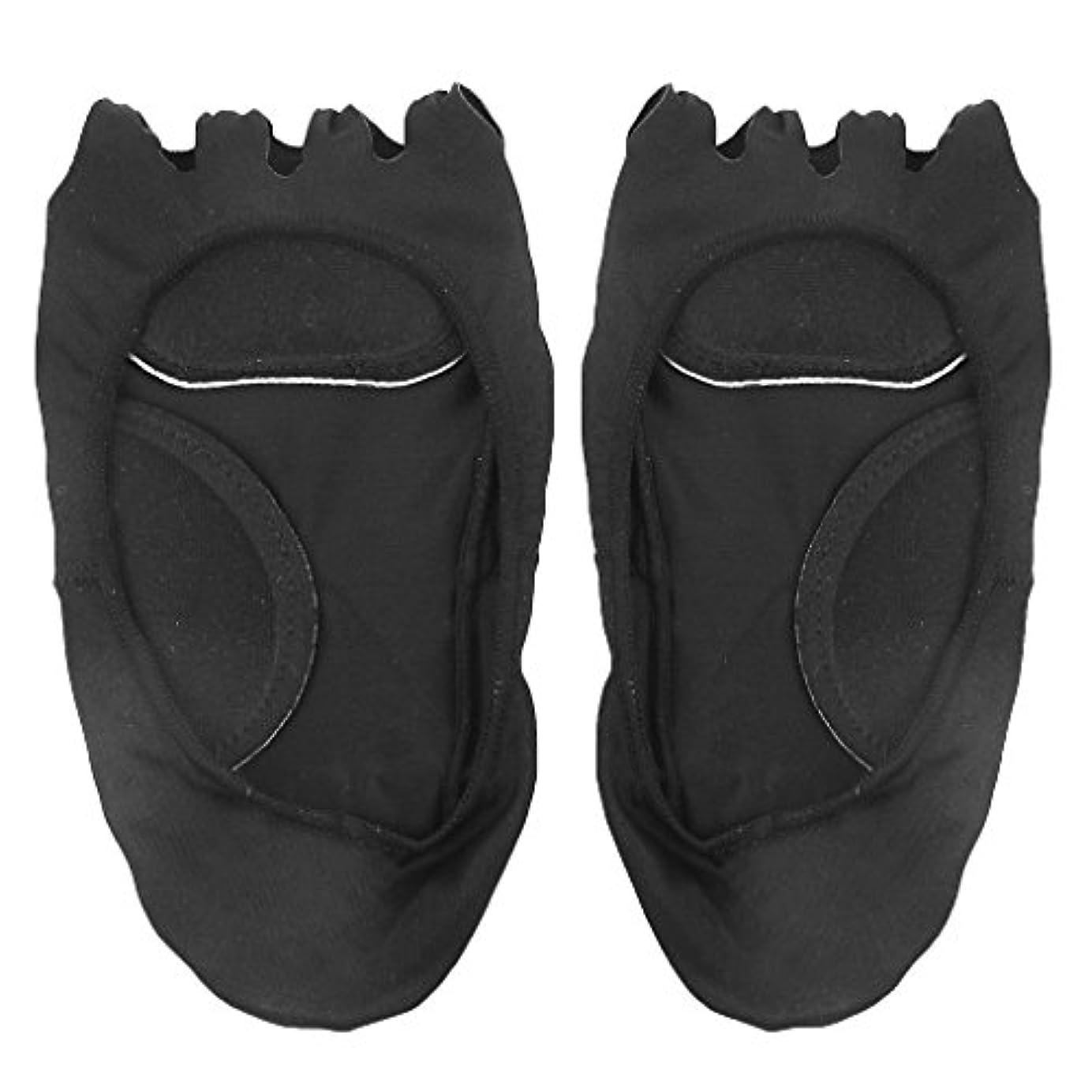 相関する下に向けます評議会【Footful】ソックス 靴下 5つ本指つま先 ボートソックス マッサージパッド 見えない 滑り止め アンクルソックス (ブラック)