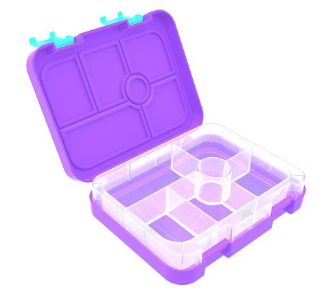 Ozzie Box Maxi 6 Puple with Aqua Clips: Bento Lunch Box with 6 Leakproof compatements, Dishwasher Safe, Kid Friendly, Great for School lunches
