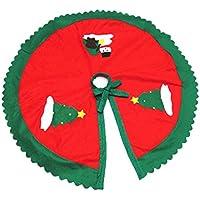 【ノーブランド品】不織布製 90センチメートル クリスマス ツリー スカート 雪だるま 木 パターン アップリケ 緑波形 エッジ