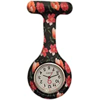 Boolavard® TM Nurses Fashion Coloured Patterned Silicon Rubber Fob Watches - Black + Orange