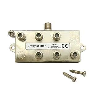 デジタル放送対応 アンテナ6分配器 全端子電通型 地上・BS・CS対応