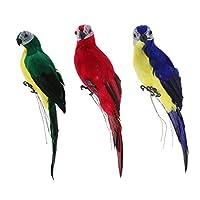 Perfk 鳥の置物 人工オウム 動物モデル 現実的 ガーデン 庭の装飾 インテリア おもちゃ 全9種選択 贈り物 - マルチカラー(3個)