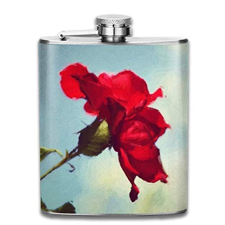 多様体食欲崖ブルームン 酒器 酒瓶 お酒 フラスコ 赤 花 ボトル 携帯用 フラゴン ワインポット 7oz 200ml ステンレス製 メンズ U型