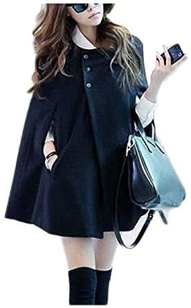 (シュバリアン) Chevalian シンプル ポンチョ 風 コート ケープ レディース 黒 ブラック (L)
