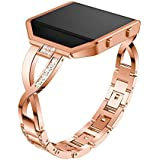 Compatible with Fitbit Blaze Watch Band with Frame, Stainless Steel Metal Bling Replacement Band Straps Accessory Dressy Eleg