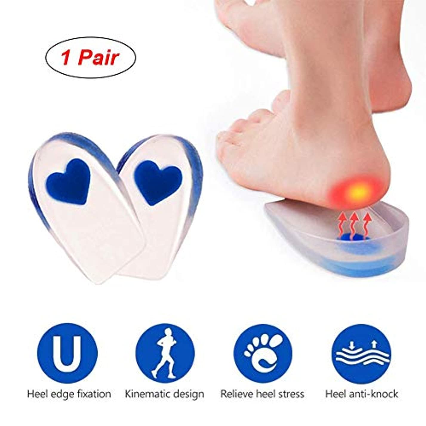 苦悩そう乱暴なジェルヒールカップ、足底筋膜炎用のシリコンヒールカップパッド、ヒールの痛みとアキレスの痛み、ジェルヒールカップとクッション吸収サポート(1ペア)Small-Blue