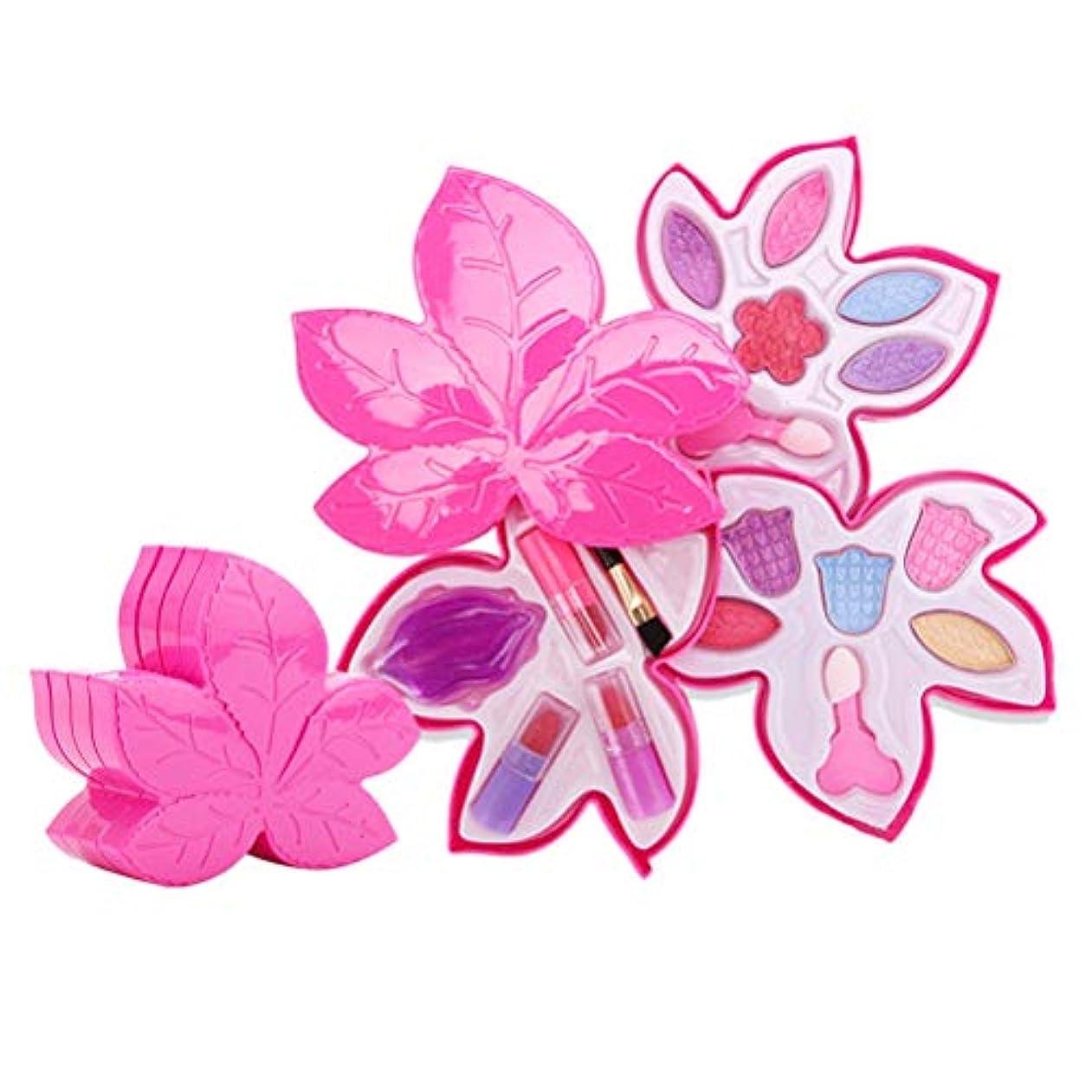 反発する思いやりのあるペチュランスToyvian 女の子メイクアップセットメイクアップリップスティックアイシャドウおもちゃ誕生日パーティー子供ギフト(メープルリーフ型化粧品ギフトボックス4層)
