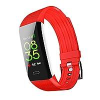 フィットネスウォッチ、心拍数モニタートラッカースマートブレスレット活動トラッカー歩数計付き睡眠モニタースマートウォッチアンドロイド4.4、イオス8.0以上,Red