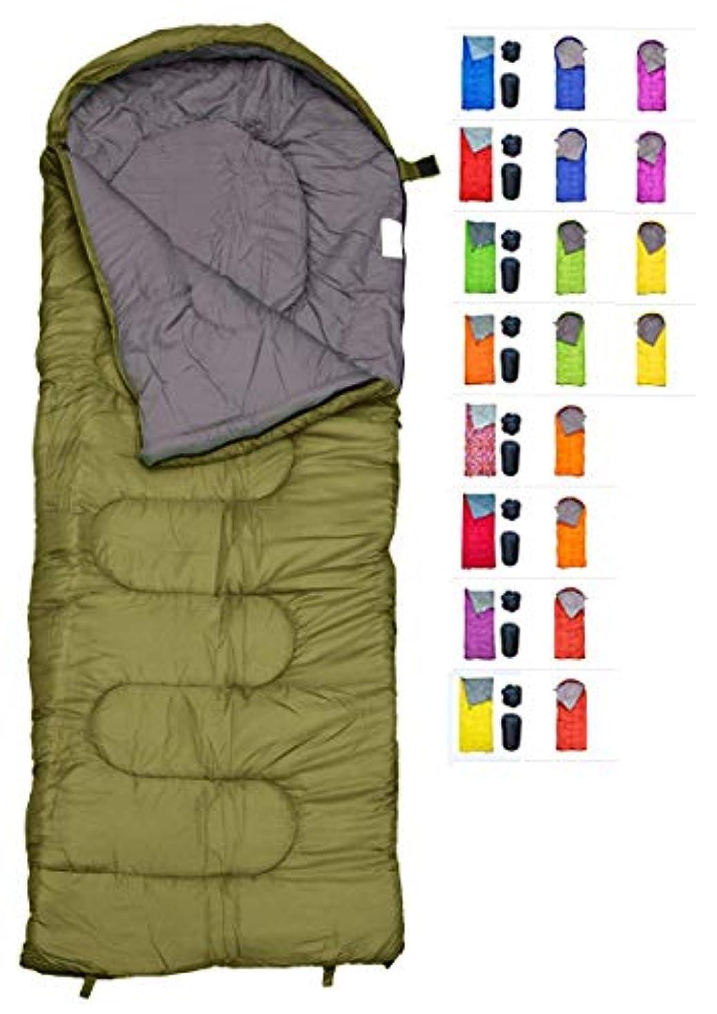 診療所上回る天国寒さのためのREVALCAMPスリーピングバッグ - 4シーズンのエンベロープのシェイプバッグby Kids、Teens&Adults。暖かくて軽い - ハイキング、バックパッキング&キャンプに最適(オリーブ - エンベロープ左郵便)