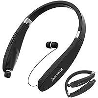 Bluetooth ヘッドフォン, JYDMIX 折り畳み式で 収納できるワイヤレス マイク付き小型イヤフォン、 ランニングやワークアウトにも最適、 CVC 6.0 ノイズキャンセリング搭載、 HD ステレオ サウンド (Black)