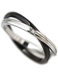 指輪 ステンレス リング ダブル キュービック ジルコニア ブラック11号
