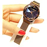 Lclock(エルシーロック) 腕時計 レディース ウォッチ 電池付き 防水 クォーツ ファッション 時計 星空 人気 かわいい カジュアル 高級感 スタンダード ダイヤモンド おしゃれ (コーヒー)