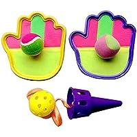 クラシックキッズトスとキャッチボールゲームセットキャッチボール玩具セット、紫の