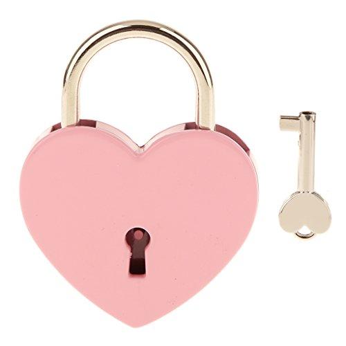 南京錠 ハート形 キー 旅行 ロッカーセット ジュエリーボックス ヴィンテージ パーソナライズ L 全4色 - ピンク