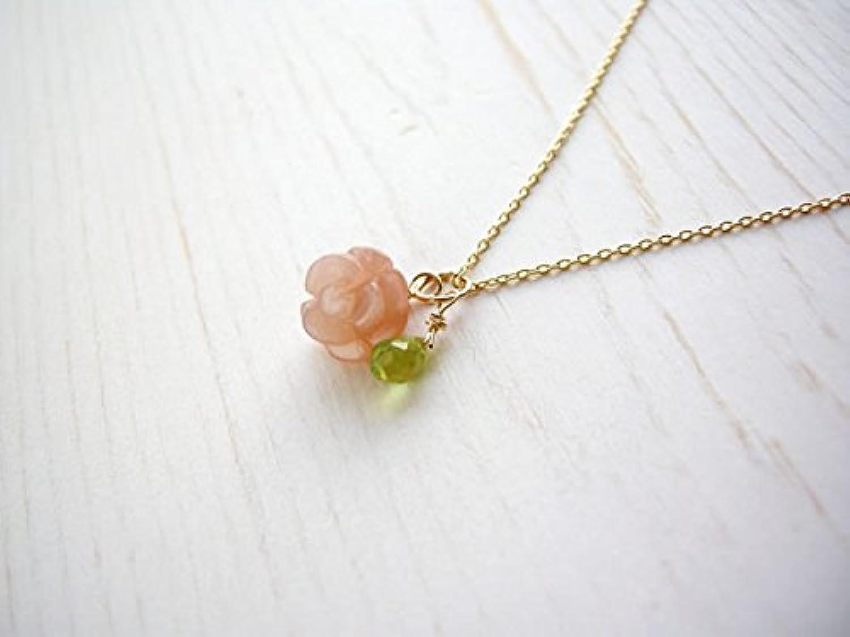薔薇のサンムーンストーン & ペリドット の ペンダントトップ パワ-スト-ン 天然石 チェーンなし