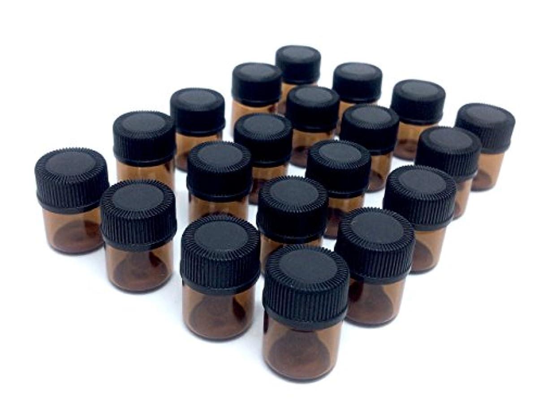 会社マークされたフローアロマオイル 遮光瓶 精油 小分け用 ガラス製 保存容器 20本 セット (1ml)
