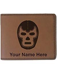 フェイクレザー財布 – Luchadorマスク – カスタマイズ彫刻Included (ダークブラウン)