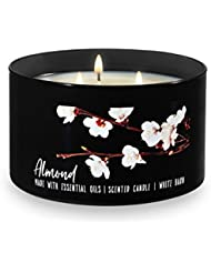 Bath and Body Works White Barn 3 Wick Low Profile Scented Candle Almond 430ml with Essential Oils