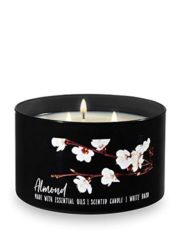 ナチュララウズピストンBath and Body Works White Barn 3 Wick Low Profile Scented Candle Almond 430ml with Essential Oils