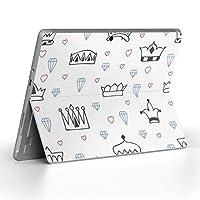Surface go 専用スキンシール サーフェス go ノートブック ノートパソコン カバー ケース フィルム ステッカー アクセサリー 保護 王冠 ハート 宝石 011311