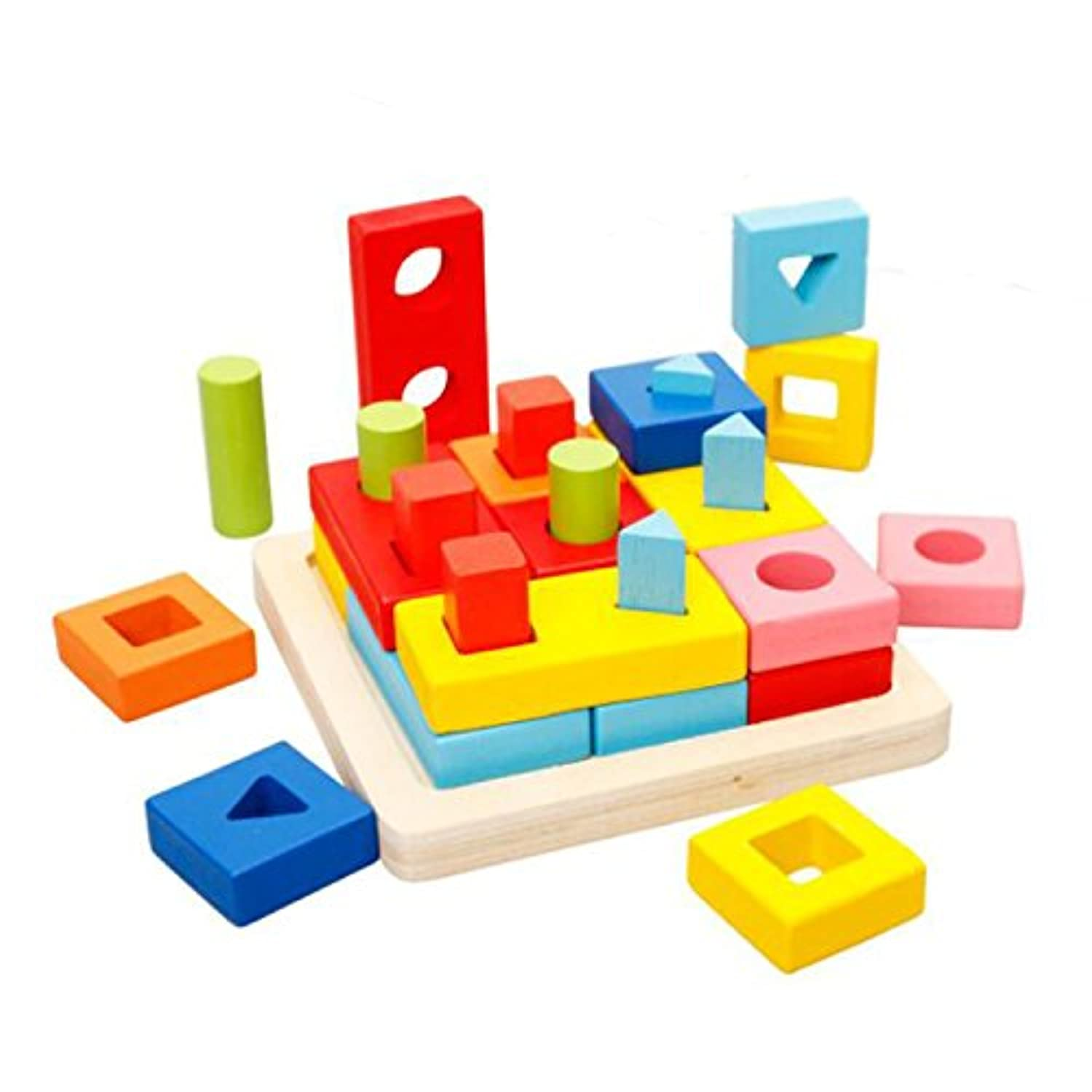 Wooden Puzzle Toddler Educational Toys Shapes Sorter Preschool Geometric Blocks Stacking Games for Kids