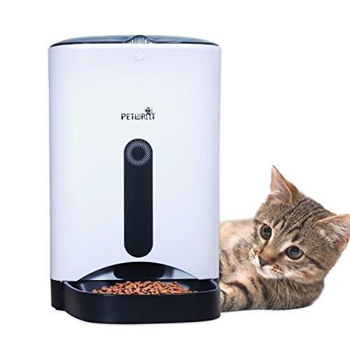 VOOPH 自動給餌器 猫 犬 ペット自動餌やり機 タイマー式 録音可 最大4日連続自動給餌 4.3L大容量 犬猫自動給餌器 ペットフードオートフィーダ 猫自動給餌器 餌入れ 給餌機 自動 猫 エサ 自動えさやり ワンチャン イヌ ネコ エサやり ペットフード 食器 猫 エサ タイマー 自動 ペット用品 PF-102