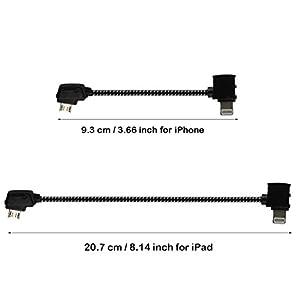 Anbee Maivc Pro リモコン 送信機データケーブル (Lightning コネクター/Micro USB コネクター/リバース Micro USB コネクター) DJI Mavic Pro/Mavic 2 Zoom Pro ドローンに対応 (Lightningケーブル 20.7cm)