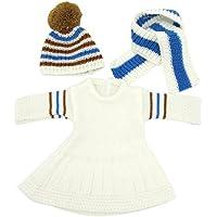 Dovewill 18インチのアメリカンガールドールのため セーター ドレス ロングネック スカーフ 帽子 セット ホワイト