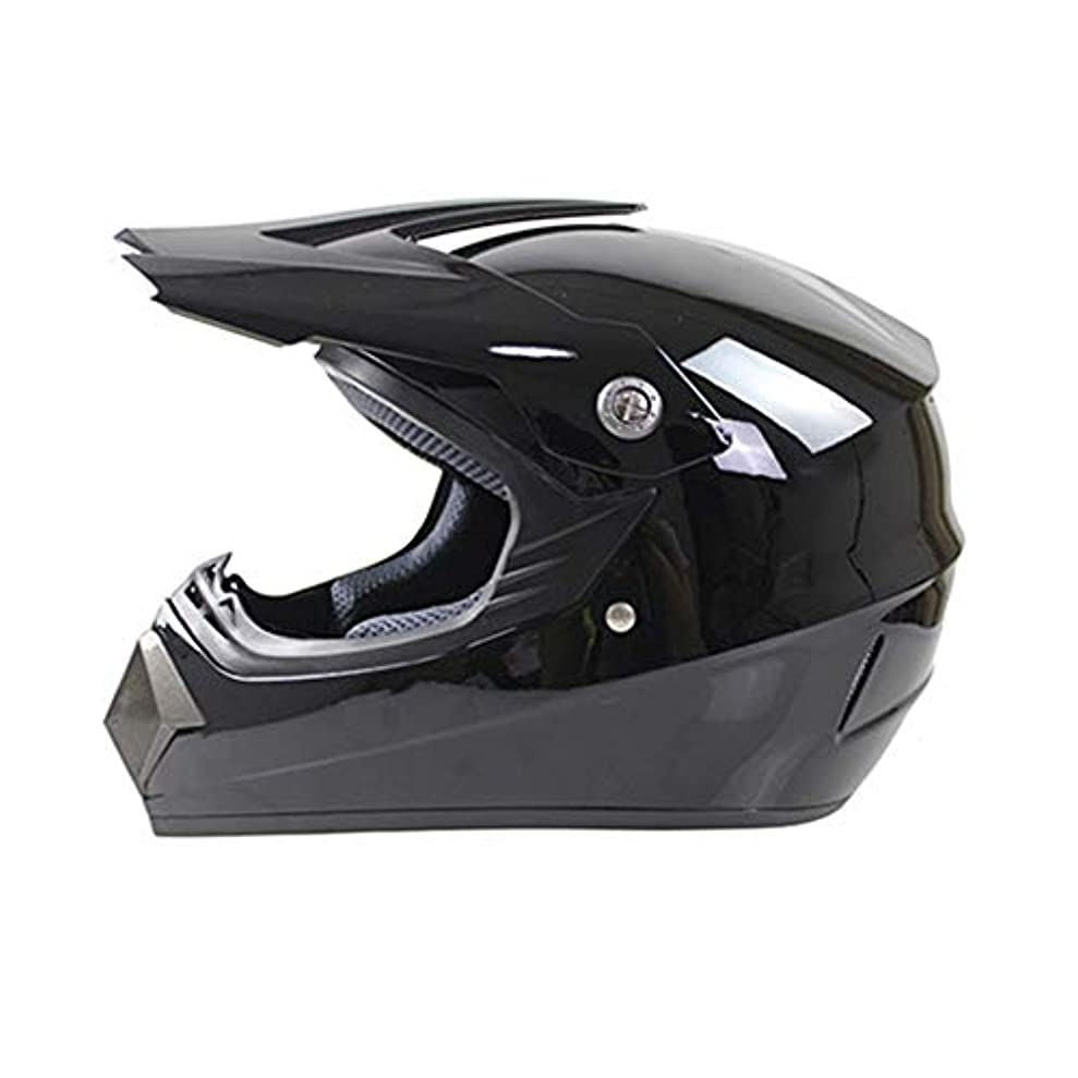 ドレス絶妙型ETH 四季クロスカントリーヘルメットモトクロスヘルメットマウンテンバイクフルヘルメットマルチカラーヘルメットクロスカントリーヘルメットロードオフロードレーシングヘルメット - 明るい黒 - 大 保護 (Size : L)