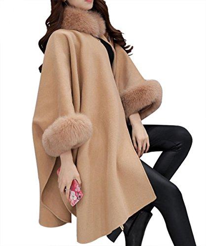(イン二ファー)Innifer 2017年改良品 レディース ポンチョコート ファーコート 毛皮コート フェイクファー コート 体型カバー 魅力的な一品 最高贅沢感 柔らかく ふわふわ 暖かさ 絶品コート 秋冬 毛皮コート 肌触り抜群