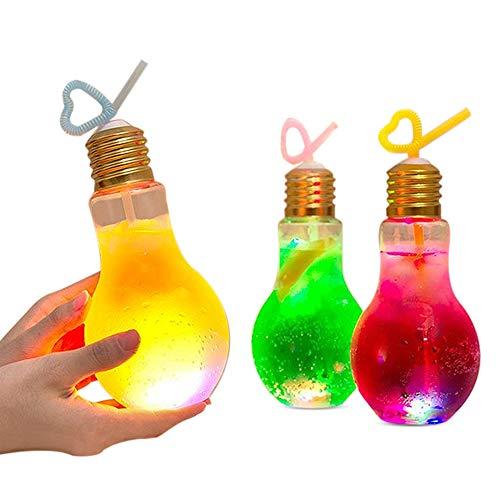 電球ソーダ 光る電球ボトル 原宿 Bius LED 電球ボトル 容器 500ml 400ml 光る 7色変換 10個セット 電球ソー...