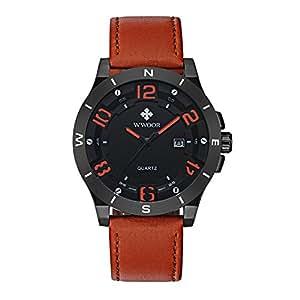 WWOOR 腕時計 メンズ 軽量薄型 本物の革 ビジネス クォーツ時計 運動 30M防水 男性 (ブラウンと赤)