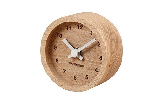 KATOMOKU muku mini clock km-26 丸 白 木 ビーチ