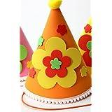 HuaQingPiJu-JP アップリケの誕生日キャップ子供の誕生日の装飾かわいい5つ星の星パターンCap_Orange