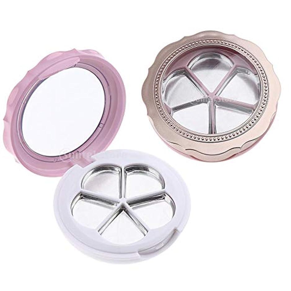 ファッション抵当インサートIPOTCH 2個 アイシャドウケース 口紅ケース 5スロット 透明なフタ 鏡 花の形