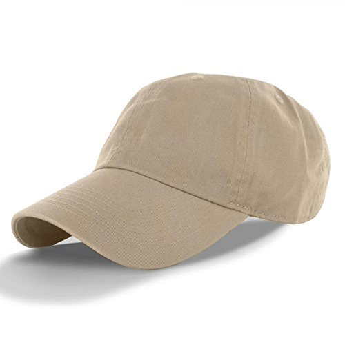 khaki-100%コットン調節可能な野球キャップ帽子ポロスタイルWashed Plainソリッドバイザー( US Seller ) Thailand