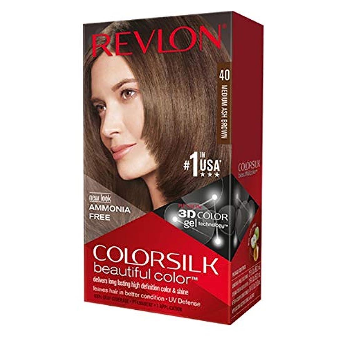 みすぼらしい減らす距離Revlon Colorsilkヘアカラー40ミディアムアッシュブラウン1各(12パック) 12のパック