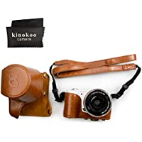 kinokoo SONY ソニー α5000 α5100 NEX-3N専用カメラケース PUレザー ショルダーストラップ 標識クロス付き(ブラウン)