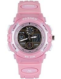 KIDS 腕時計 子供用腕時計 アナデジ表示 3気圧防水キッズウォッチ ボーイズ ガールズ 多機能腕時計 ピンク