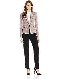 Tahari ASL Women's Tweed Pant Suit Coral/Black/White 4 [並行輸入品]
